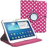 """Stuff4 MR-GT310.1-L360-PD-DPW-STY-SP Housse avec rotation à 360° pour Samsung Galaxy Tab 3 10,1"""" (P5200 / P5210) Film de protection et Stylet inclus Rose Foncé Polka Dot"""