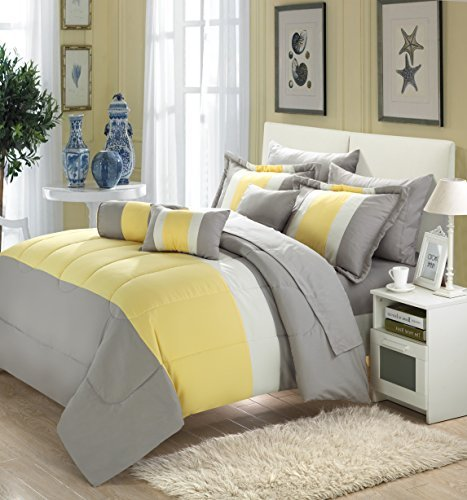 Chic Home Serenity 10 piece Comforter Set King Size Yellow Pillow