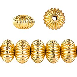 11mm 22kt Gold Plated Copper Corrugated Rondelle Bead