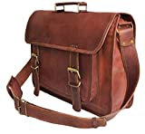 "18"" Large brown Leather bag for men messenger bag shoulder bag mens Laptop Bag"