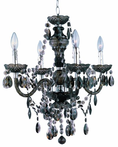 Park Madison Lighting PMC-6604-SM 4-Light Smoked Acrylic Chandelier/Ceiling Fixture with Acrylic Prisms and Chrome Accents, 21-3/4-Inch x 23-Inch