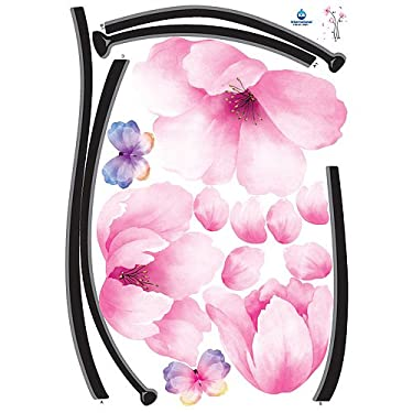 Home Decor Mural Art Wall Paper Stickers - Romantic Pink Flowers