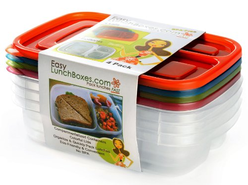 easylunchboxes 3 compartment bento lunch box containers ebay. Black Bedroom Furniture Sets. Home Design Ideas