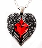 Silver Tone Red Angel Heart Guardian Angel Wing Pendant Necklace for Christmas