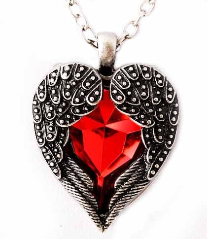 Silver Tone Red Angel Heart Guardian Angel Wing Pendant Necklace