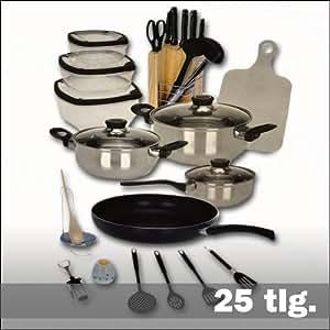 Set da cucina 25 pezzi batteria di pentole padella for Set utensili da cucina