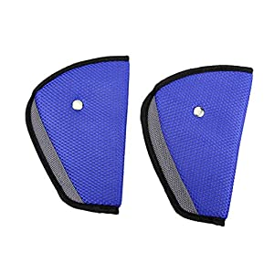 ilovebaby Car Child Safety Cover Harness Pad Comfortable Offers Protection Strap Adjuster Mash Pad Kids Seat Belt Seatbelt Clip Booster Adult Children Air Mesh Fabric Blue With Black Lining Pack of 2