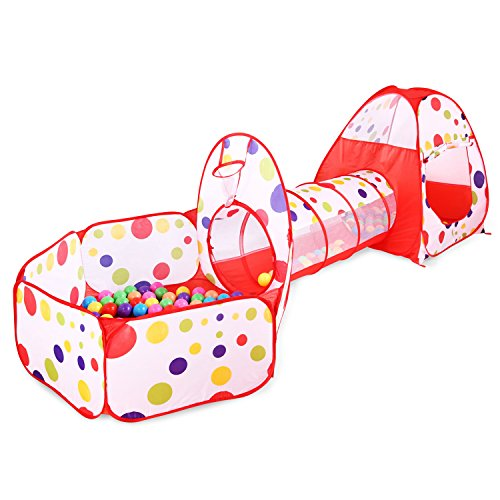 Find Bargain BATTOP Children Polka Dot Play Tent Tunnel Cubby-Tube-Teepee Playground Pop-up Indoor O...