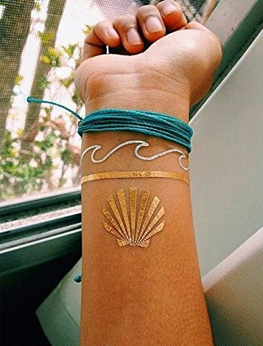 10-Premium-Sheets-of-Metallic-Gold-Silver-Turquoise-and-Multi-color-Temporary-Flash-Tattoos-for-Women-Girls-Over-120-Tattoos-Waterproof-Trending-Top-Fashion-Accessory