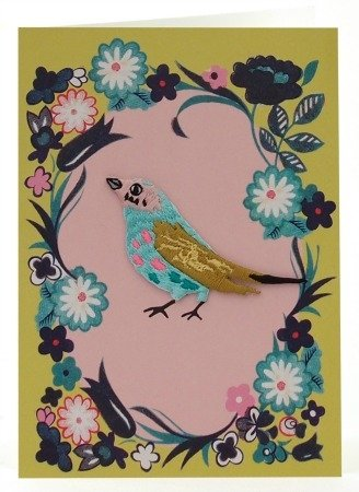 Petra Boase Embroidered Iron-On Bird Card - 4 front-41153