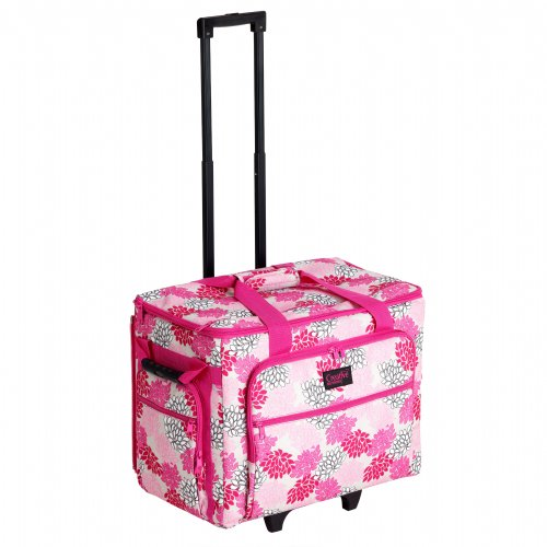 Creative Notions X-Large Sewing Machine Trolley In Pink Gray Floral Print front-432192
