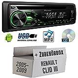 RENAULT CLIO 3-Pioneer deh1800ubg-Kit de montage autoradio CD/MP3/USB -