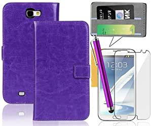 Galaxy Note 2 Case ,Tradekmk(TM) Crazy Horse Pattern Quality Leather Case Cover With Credit ID Card Holders For Samsung Galaxy Note 2 II N7100(Purple), Support Stand Viewing,with Stylus Pen,Screen Protector and Cleaning Cloth