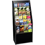 12 or 24-Pocket Literature Rack Brochure Holder Stand for Floor - Black Melamine with Wire Pockets