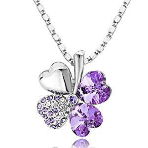 18k Gold Plated Swarovski Crystal Heart Shaped Four Leaf Clover Pendant Necklace - Various Colors