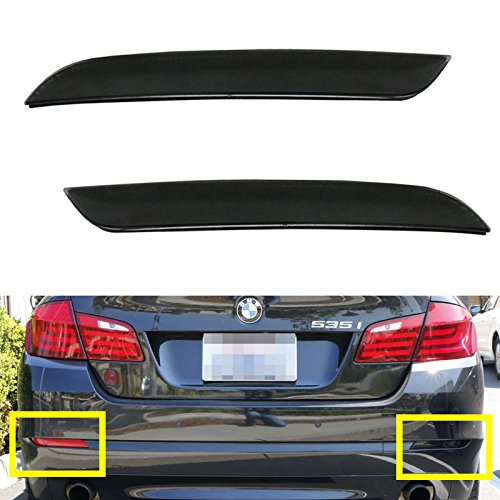 Ijdmtoy (2) Black Smoked Bumper Reflector Replacement For 2011-Up Bmw F10 5 Series 528I 535I 550I (Regular Bumper Trim Only)