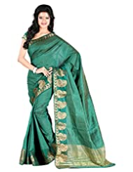Roopkala Tussar Plain Green Silk Saree
