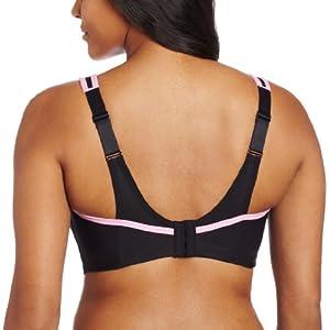 Glamorise Women's Full Figure Glamorise No Bounce Cami Sport Bra, Black/Pink, 40DD