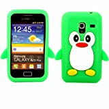 Penguin Silicone Case Cover Skin For Samsung Galaxy Ace Plus S7500 / Green