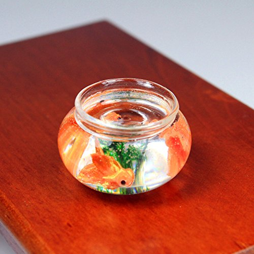 Handmade Goldfish Fish Greenery In Glass Bowl Pond Miniature Dollhouse Accessory
