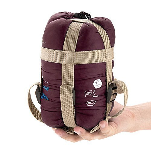 ECOOPRO Warm Weather Sleeping Bag - Outdoor Camping, Backpacking & Hiking - Fit for Kids, Teens and Adults - Spring, Summer & Fall - Lightweight, Waterproof & Compact Wine Red (Micro Sleeping Bag compare prices)