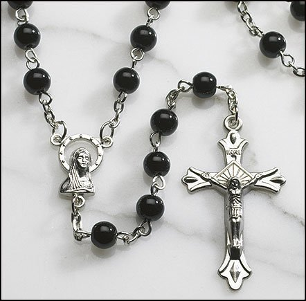Blessed By Pope Benedit XVI Glass Beads Traditional Madonna centerpiece and crucifix Rosary in 5 colors, J-407Black