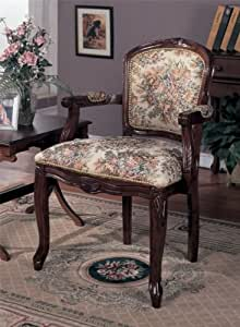 Beautiful Wooden Armrest Chair with Floral Design in Cherry Finish #PD F11128