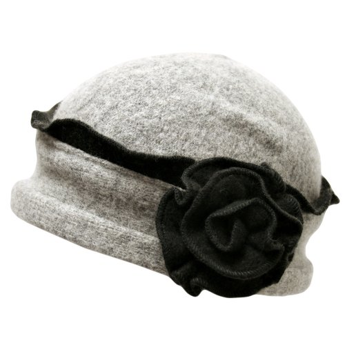 Two Tone Grey Wool Bucket Hat With Rosette