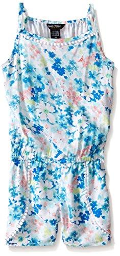 Nautica Toddler Floral Print Romper, Light Turquoise, 4T