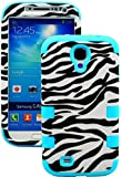 """myLife (TM) Vibrant Sky Blue - Zebra Stripe Print Design (3 Piece Hybrid) Hard and Soft Case for the Samsung Galaxy S4 """"Fits Models: I9500, I9505, SPH-L720, Galaxy S IV, SGH-I337, SCH-I545, SGH-M919, SCH-R970 and Galaxy S4 LTE-A Touch Phone"""" (Fitted Front and Back Solid Cover Case + Internal Silicone Gel Rubberized Tough Armor Skin)"""