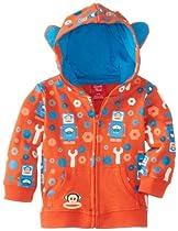 Paul Frank Baby-Boys Newborn Printed Hoodie with Ears, Robot Orange, 0-3 Months