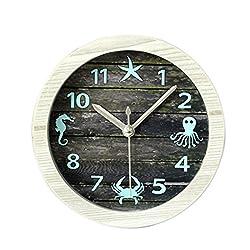 Lazy Clock, Yamix Mediterranean Style Jellyfish Crabs Crocodile Starfish Vintage Imitation Wood Round Quartz Alarm Clock Silent Desktop Table Clock