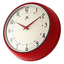 Retro Metal Wall Clock - Red