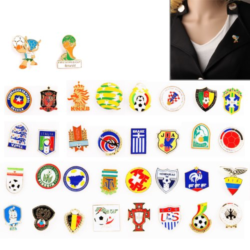 Sale alerts for  NEW World Cup Brazil 2014 Fans Football Memorabilia Emblem + Mascot + 32 Teams PIN Badge (34pcs in one Packing, the price is for 34pcs) - Covvet