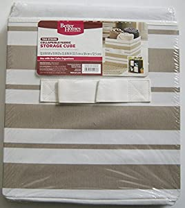 Better Homes And Gardens Collapsible Fabric Storage Cube Tan Stripe Home Kitchen