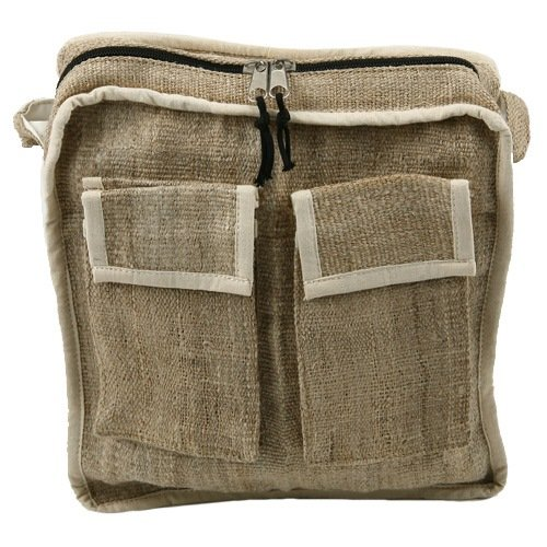 Hemp Fabric Shoulder Bag &#8211; Frayed Flap W04S65F