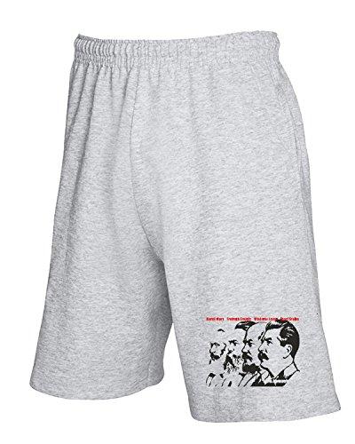 T-Shirtshock - Pantalone Tuta Corto TCO0076 Karl-Marx-Friedrich-Engels-Vladimir-Lenin-Joseph-Stalin, Taglia XL