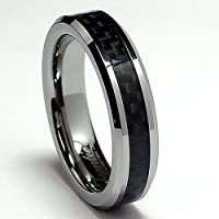 5MM Tungsten Carbide Ring Wedding Band W/ Carbon Fiber Inaly size 6