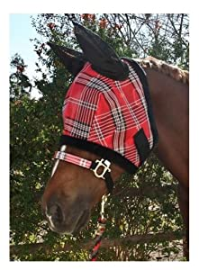 Kensington KPP Fly Mask with Fleece Trim with Ears, Blue Ice Plaid, Medium