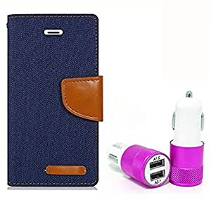 Aart Fancy Wallet Dairy Jeans Flip Case Cover for MicromaxA104 (NavyBlue) + Dual USB Port Car Charger with Smartest & Fastest Technology by Aart Store.