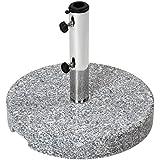 Pied de parasol rond - en granite - adapté aux diamètres de tube : 32, 38, 48 mm