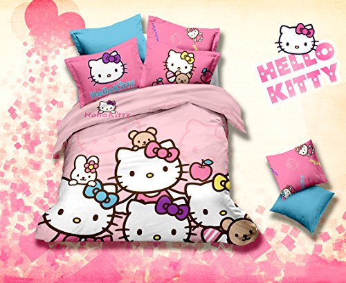 Home Feeling Children Cotton Series Hello Kitty Family 4-Piece Childrens Bedding Collections
