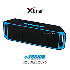 XTRA e-FUSION Wireless Bluetooth Speaker Portable Stereo FM Radio, High-Def Crystal Sound, Upto 128GB Micro SD Card Support + USB Playback with Triple Bass + Built-in Mic & 3.5mm Jack - Blue