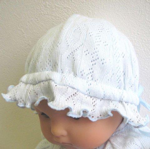 柄編みニットのピケハット サックス(チューリップ)40から44 ベビー用お帽子