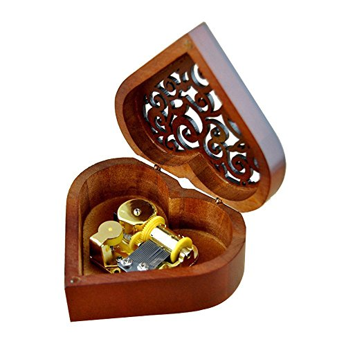 Heart Shape Vintage Wood Carved Mechanism Musical Box Wind Up Music Box Gift For Christmas/Birthday/Valentine's day, Melody Castle in the Sky 0