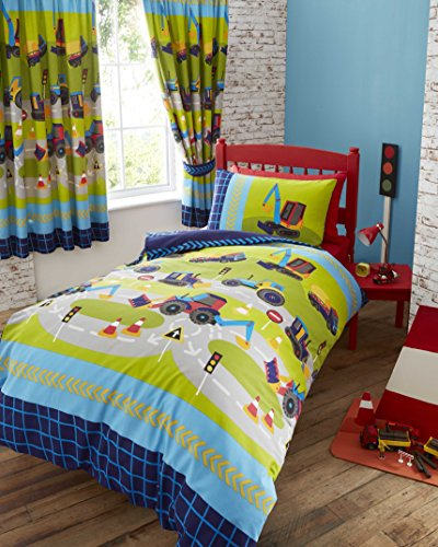 Childrens boys girls single bed duvet set new diggers bedding quilt cover set navy blue green trucks by Kids Club