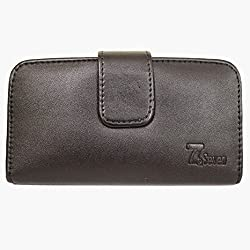 7&seven Leather Carry Case Cover Pouch Wallet Case For Swipe Konnect 4E Black
