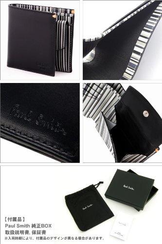 [ポールスミス]Paul Smith AHXJ 2663 W510 B 二つ折り 財布 小銭入れ付き ブラック×マルチストライプ メンズ