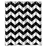 Black and White Chevron Shower Curtain - Polyester Fabric by DOTZ Bathroom Collection