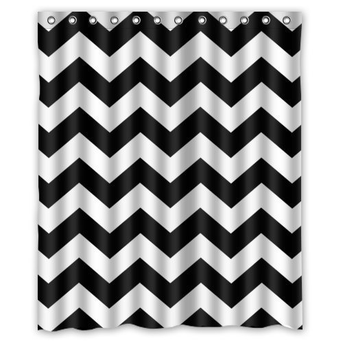 DOTZ Polyester Chevron Shower Curtain - Black and White Zig Zag Pattern - Package Includes 12 White Easy-Glide Roller Shower Hooks - Fits 180cm x 180 cm 70